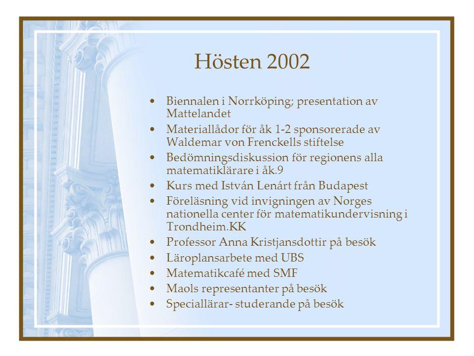 Våren 2003 Fortsättningskurs i Första hjälp Klasslärare friskar upp sina kunskaper i skolkursen i matematik Rättvis bedömning i åk 9.