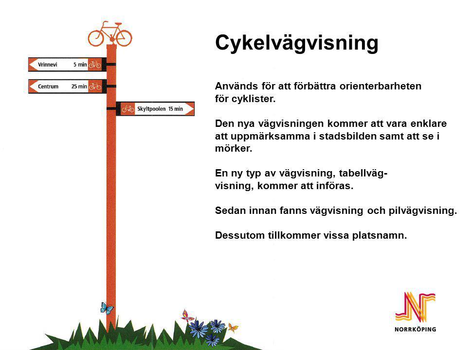 Cykelvägvisning Cykelvägvisning Används för att förbättra orienterbarheten för cyklister. Den nya vägvisningen kommer att vara enklare att uppmärksamm