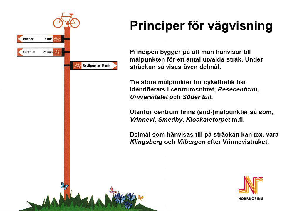 Principer Principer för vägvisning Principen bygger på att man hänvisar till målpunkten för ett antal utvalda stråk. Under sträckan så visas även delm