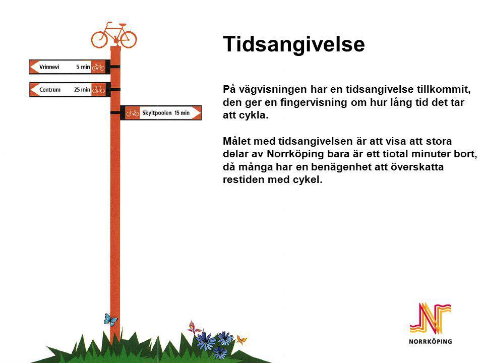 Tidsangivelse Tidsangivelse På vägvisningen har en tidsangivelse tillkommit, den ger en fingervisning om hur lång tid det tar att cykla. Målet med tid