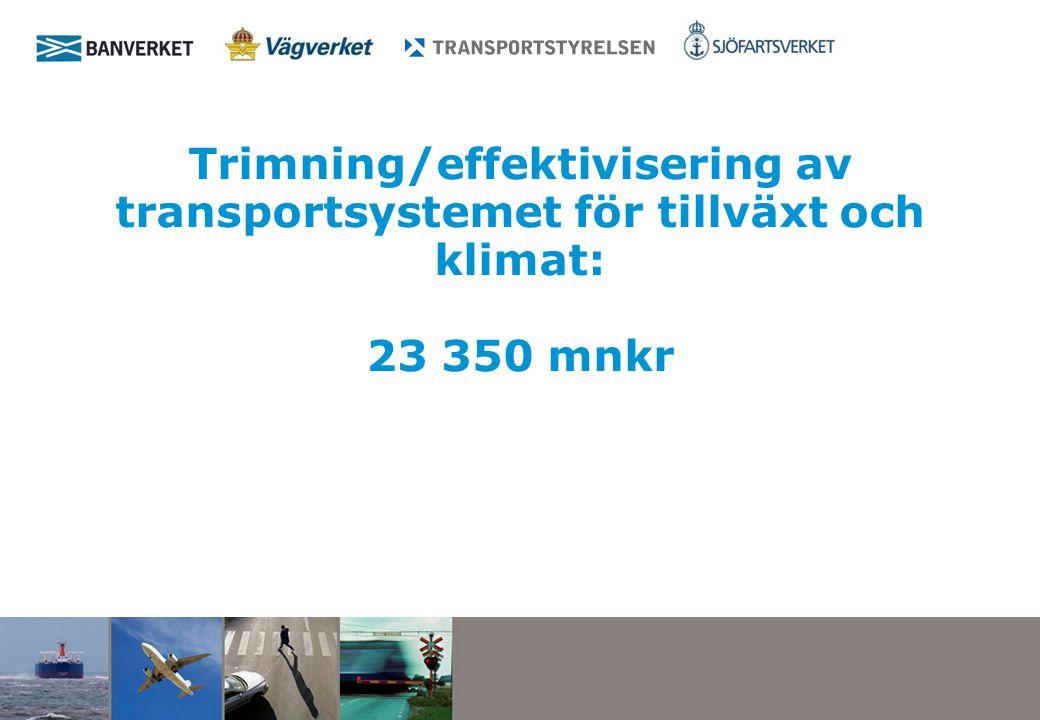 Trimning/effektivisering av transportsystemet för tillväxt och klimat: 23 350 mnkr