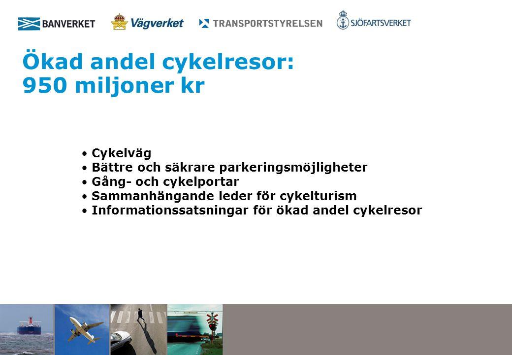 Ökad andel cykelresor: 950 miljoner kr Cykelväg Bättre och säkrare parkeringsmöjligheter Gång- och cykelportar Sammanhängande leder för cykelturism Informationssatsningar för ökad andel cykelresor