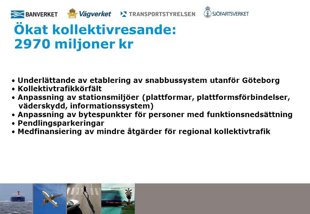 Ökat kollektivresande: 2970 miljoner kr Underlättande av etablering av snabbussystem utanför Göteborg Kollektivtrafikkörfält Anpassning av stationsmiljöer (plattformar, plattformsförbindelser, väderskydd, informationssystem) Anpassning av bytespunkter för personer med funktionsnedsättning Pendlingsparkeringar Medfinansiering av mindre åtgärder för regional kollektivtrafik