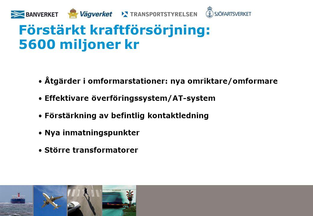Förstärkt kraftförsörjning: 5600 miljoner kr Åtgärder i omformarstationer: nya omriktare/omformare Effektivare överföringssystem/AT-system Förstärkning av befintlig kontaktledning Nya inmatningspunkter Större transformatorer