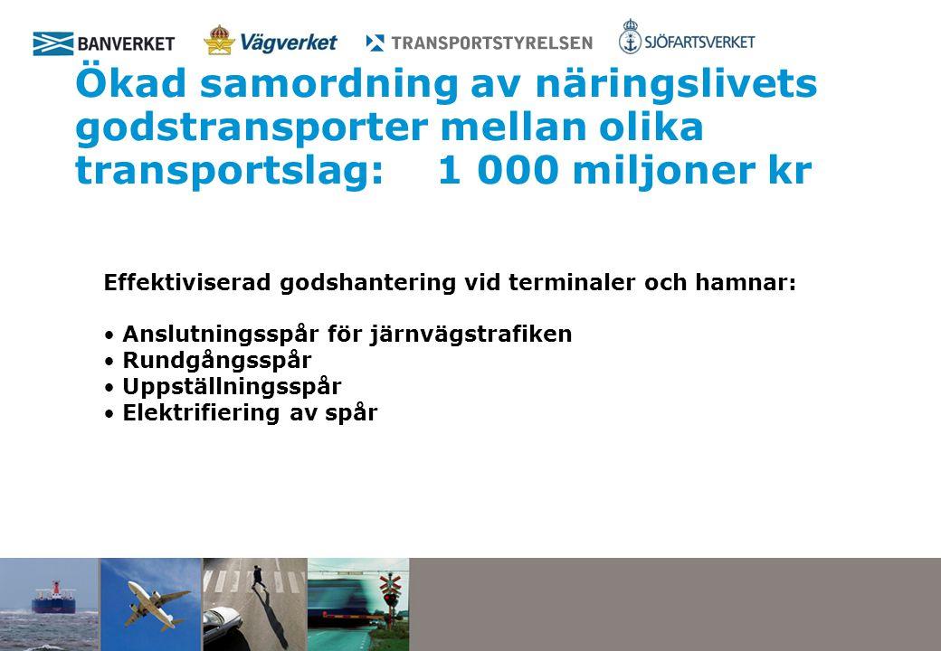Ökad samordning av näringslivets godstransporter mellan olika transportslag: 1 000 miljoner kr Effektiviserad godshantering vid terminaler och hamnar: Anslutningsspår för järnvägstrafiken Rundgångsspår Uppställningsspår Elektrifiering av spår