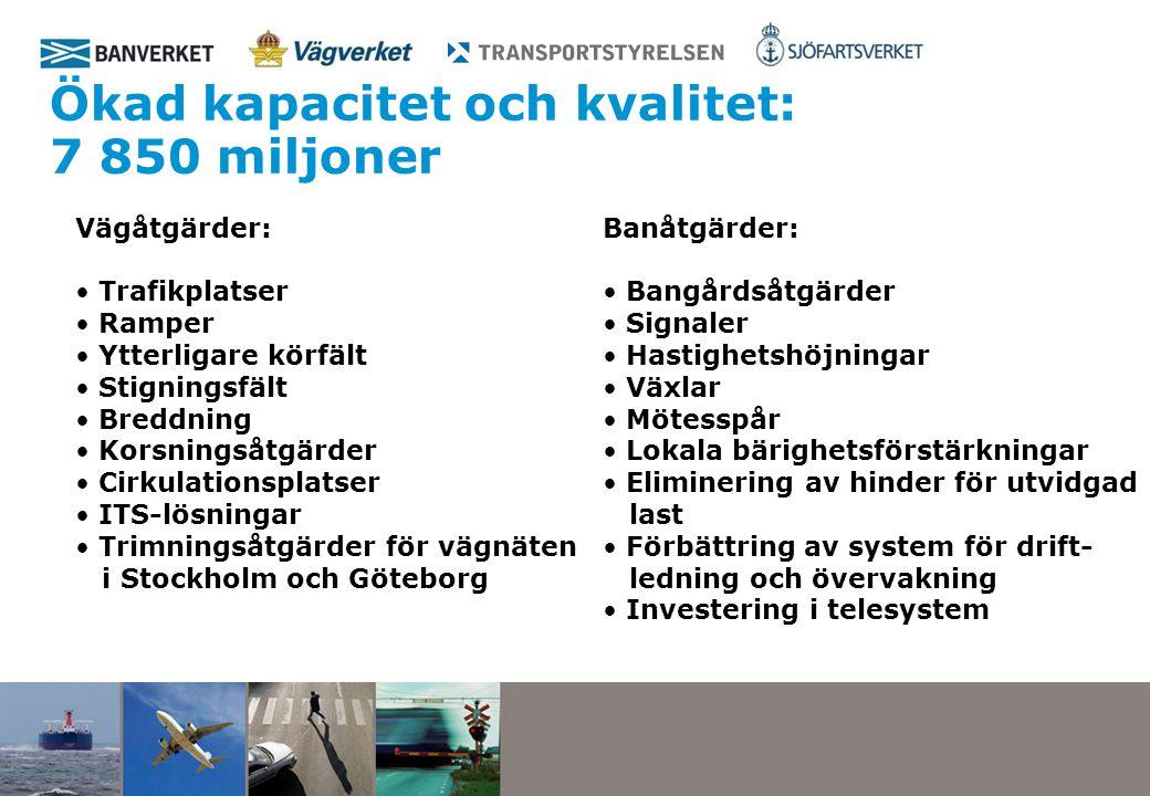 Ökad kapacitet och kvalitet: 7 850 miljoner Vägåtgärder: Trafikplatser Ramper Ytterligare körfält Stigningsfält Breddning Korsningsåtgärder Cirkulationsplatser ITS-lösningar Trimningsåtgärder för vägnäten i Stockholm och Göteborg Banåtgärder: Bangårdsåtgärder Signaler Hastighetshöjningar Växlar Mötesspår Lokala bärighetsförstärkningar Eliminering av hinder för utvidgad last Förbättring av system för drift- ledning och övervakning Investering i telesystem