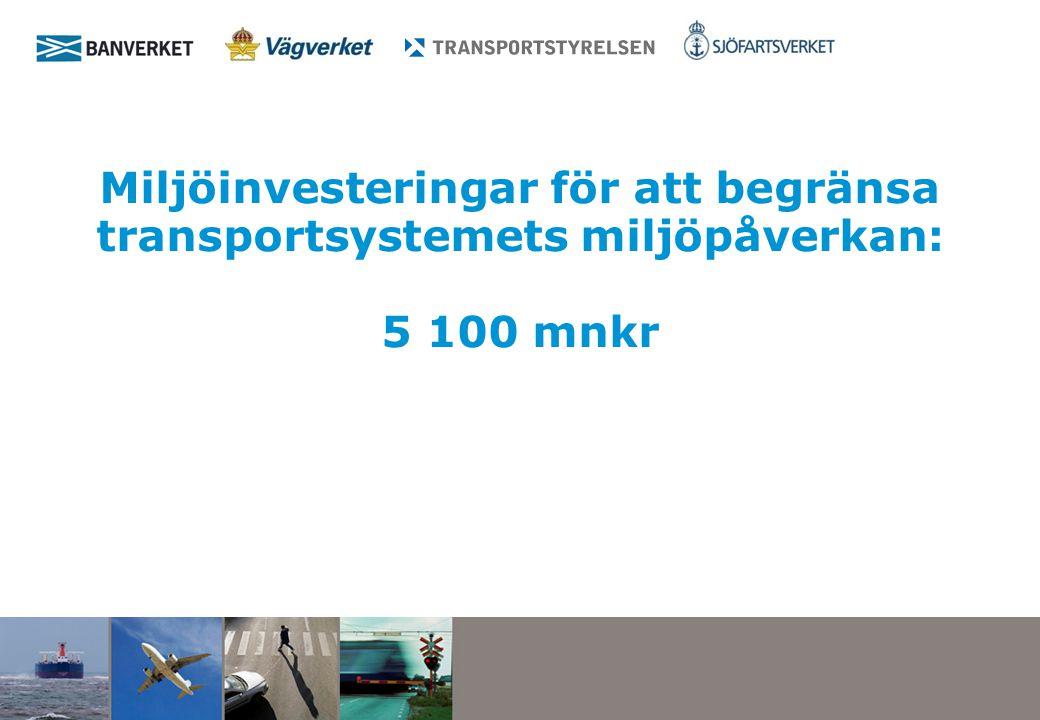 Miljöinvesteringar för att begränsa transportsystemets miljöpåverkan: 5 100 mnkr