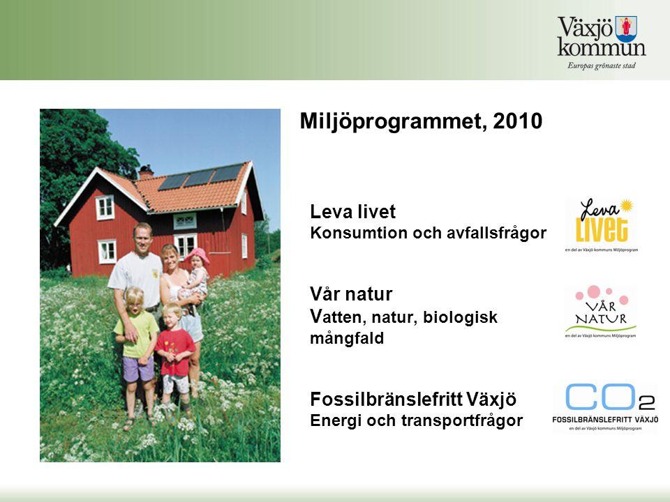 Leva livet Konsumtion och avfallsfrågor Vår natur V atten, natur, biologisk mångfald Fossilbränslefritt Växjö Energi och transportfrågor Miljöprogrammet, 2010