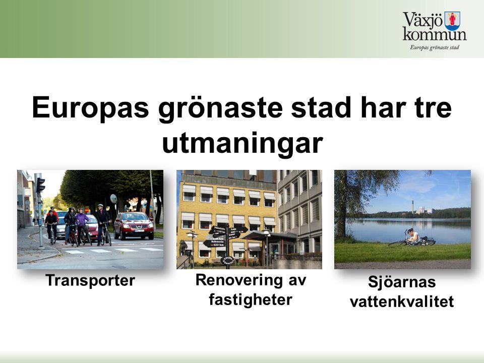 Transporter Renovering av fastigheter Sjöarnas vattenkvalitet Europas grönaste stad har tre utmaningar