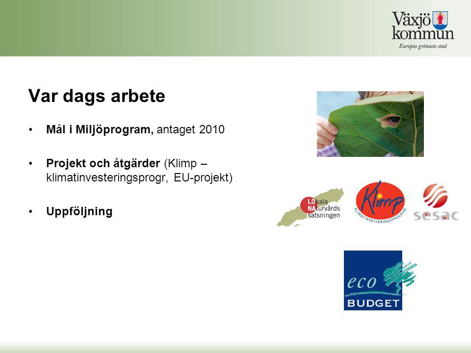 Var dags arbete Mål i Miljöprogram, antaget 2010 Projekt och åtgärder (Klimp – klimatinvesteringsprogr, EU-projekt) Uppföljning
