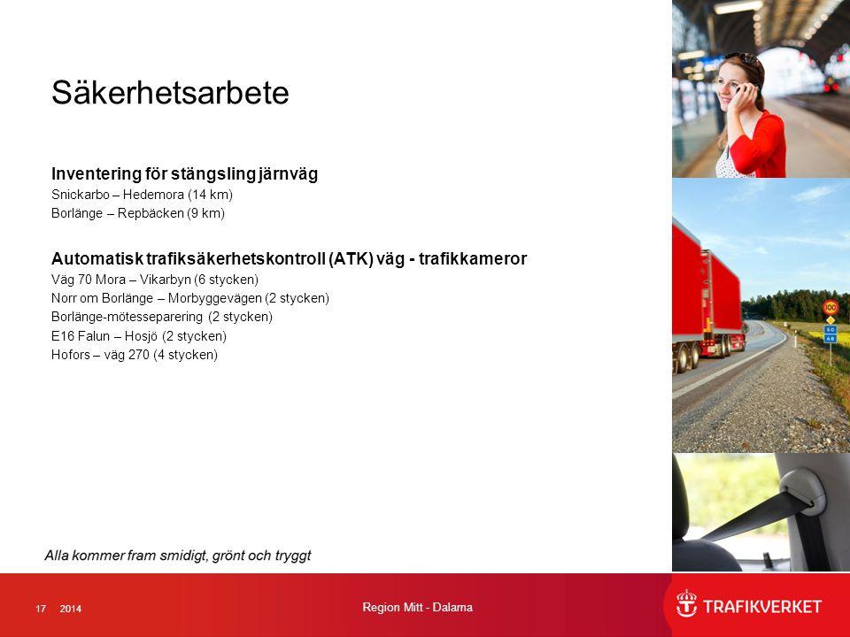 172014 Region Mitt - Dalarna Säkerhetsarbete Inventering för stängsling järnväg Snickarbo – Hedemora (14 km) Borlänge – Repbäcken (9 km) Automatisk tr
