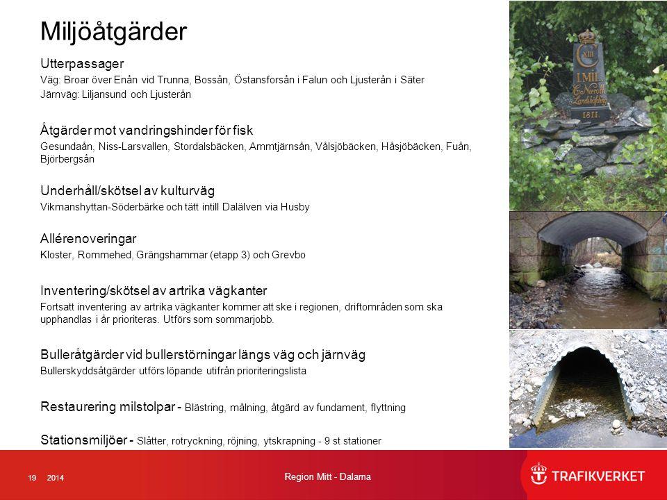 192014 Region Mitt - Dalarna Miljöåtgärder Utterpassager Väg: Broar över Enån vid Trunna, Bossån, Östansforsån i Falun och Ljusterån i Säter Järnväg: