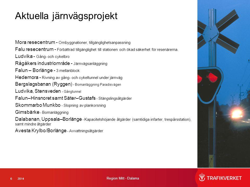 62014 Region Mitt - Dalarna Aktuella järnvägsprojekt Mora resecentrum - Ombyggnationer, tillgänglighetsanpassning Falu resecentrum - Förbättrad tillgä