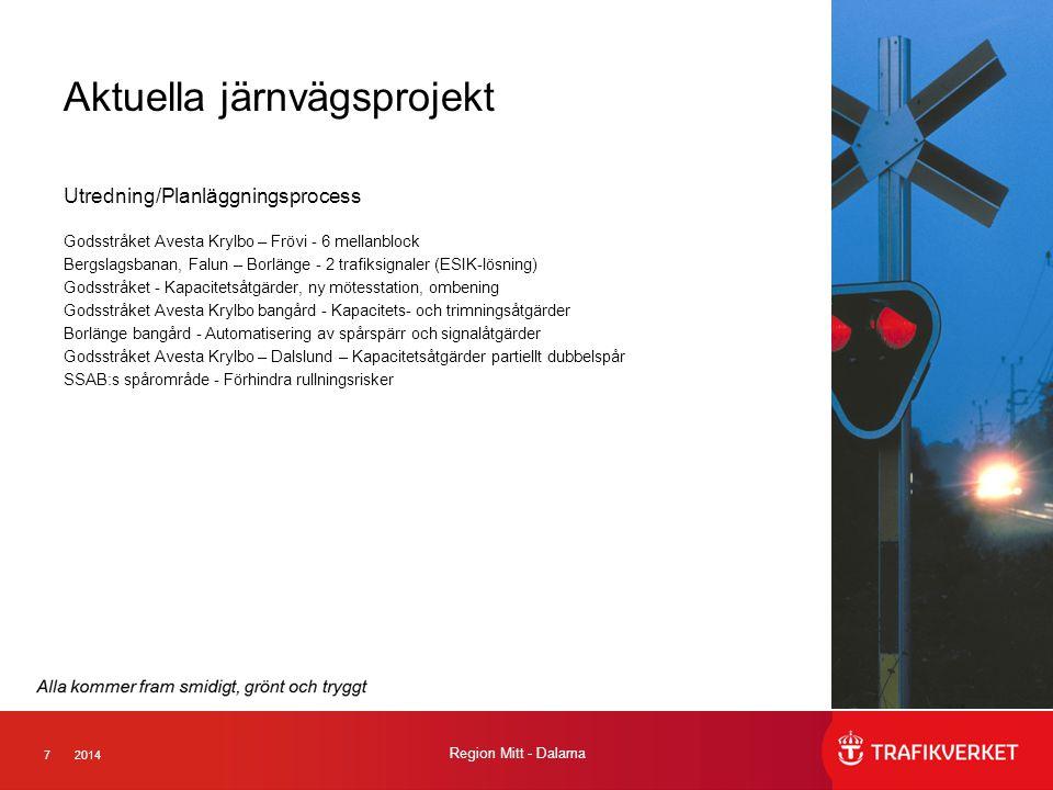 72014 Region Mitt - Dalarna Aktuella järnvägsprojekt Utredning/Planläggningsprocess Godsstråket Avesta Krylbo – Frövi - 6 mellanblock Bergslagsbanan,