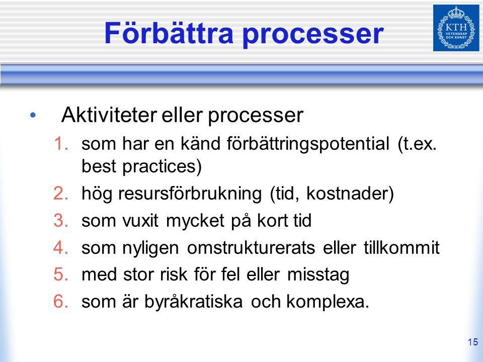 15 Förbättra processer Aktiviteter eller processer  som har en känd förbättringspotential (t.ex. best practices)  hög resursförbrukning (tid, kost