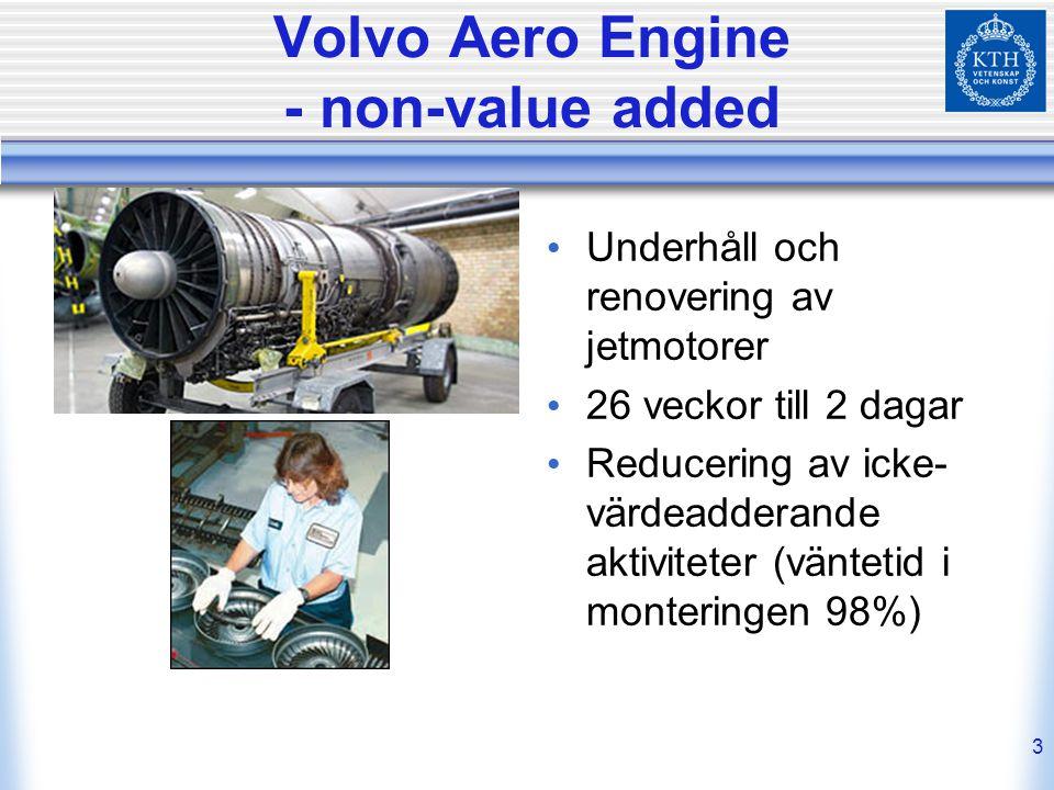 3 Volvo Aero Engine - non-value added Underhåll och renovering av jetmotorer 26 veckor till 2 dagar Reducering av icke- värdeadderande aktiviteter (vä