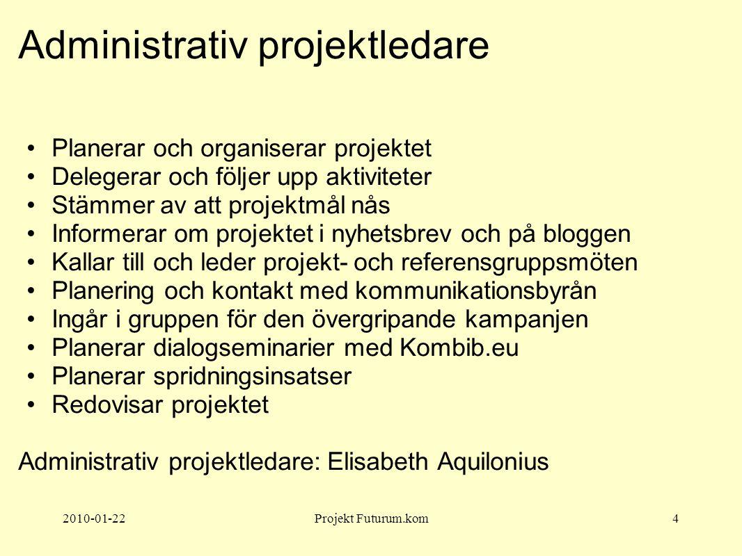 2010-01-22Projekt Futurum.kom4 Administrativ projektledare Planerar och organiserar projektet Delegerar och följer upp aktiviteter Stämmer av att proj