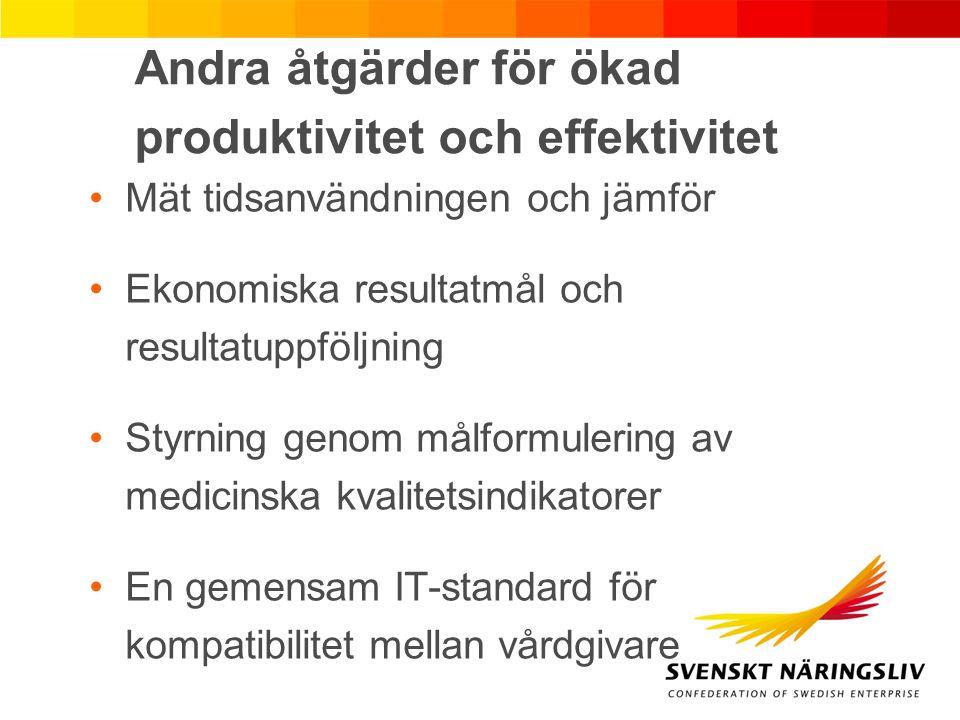Andra åtgärder för ökad produktivitet och effektivitet Mät tidsanvändningen och jämför Ekonomiska resultatmål och resultatuppföljning Styrning genom m