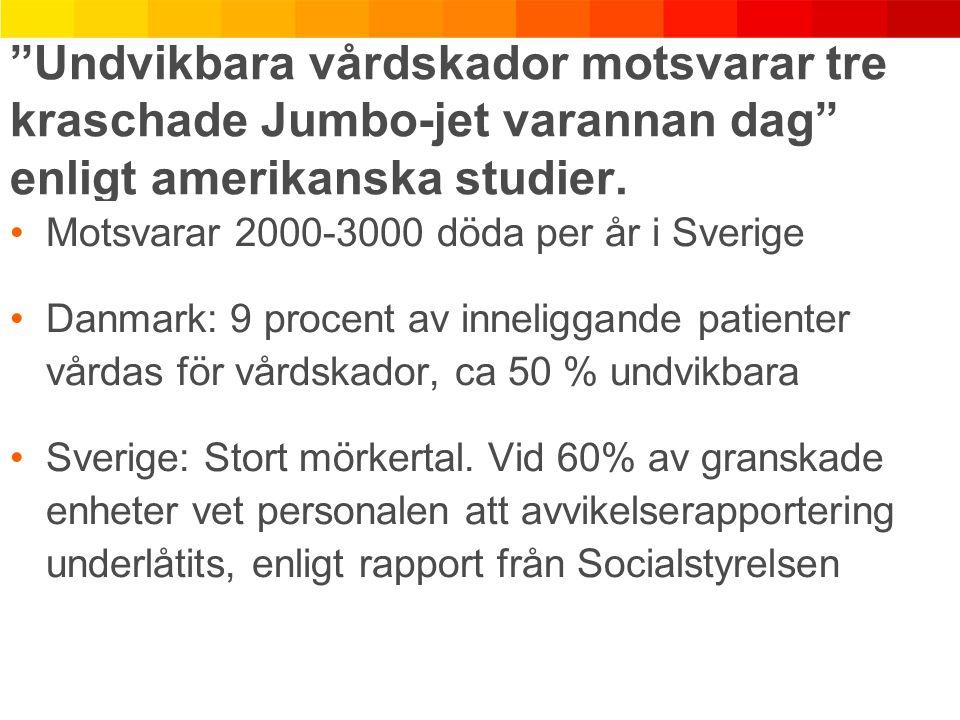 """""""Undvikbara vårdskador motsvarar tre kraschade Jumbo-jet varannan dag"""" enligt amerikanska studier. Motsvarar 2000-3000 döda per år i Sverige Danmark:"""