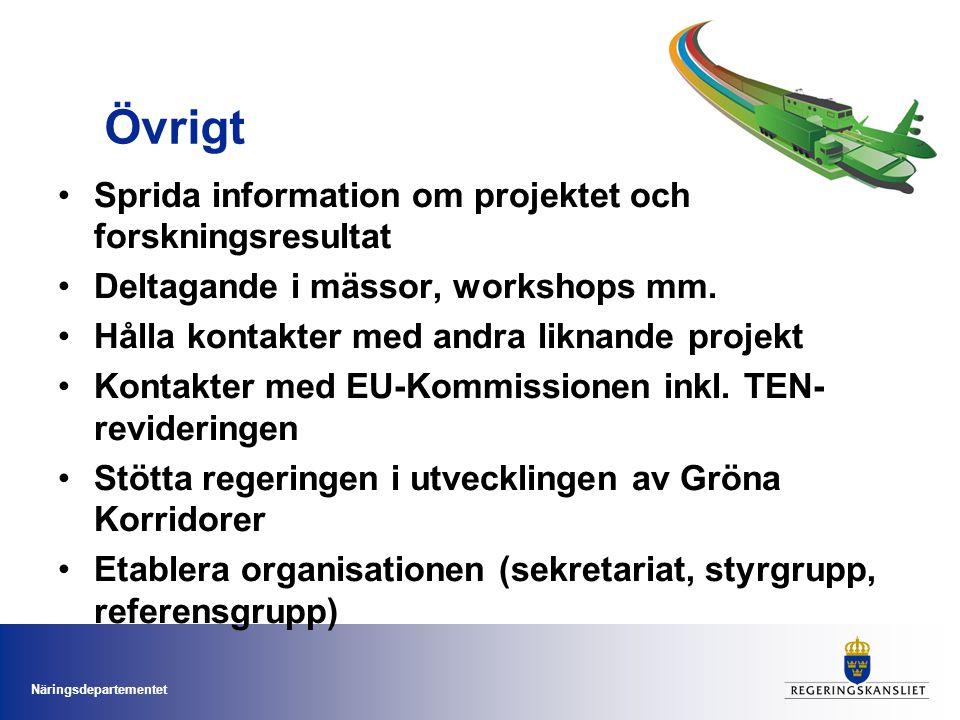 Näringsdepartementet Övrigt Sprida information om projektet och forskningsresultat Deltagande i mässor, workshops mm.