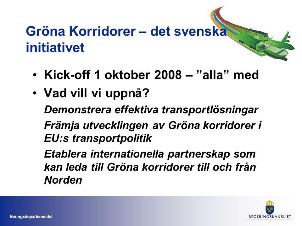 Näringsdepartementet Gröna Korridorer – det svenska initiativet Kick-off 1 oktober 2008 – alla med Vad vill vi uppnå.
