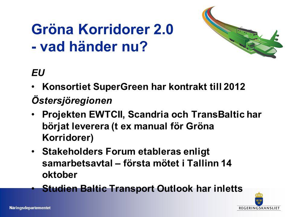 Näringsdepartementet Gröna Korridorer 2.0 - vad händer nu.