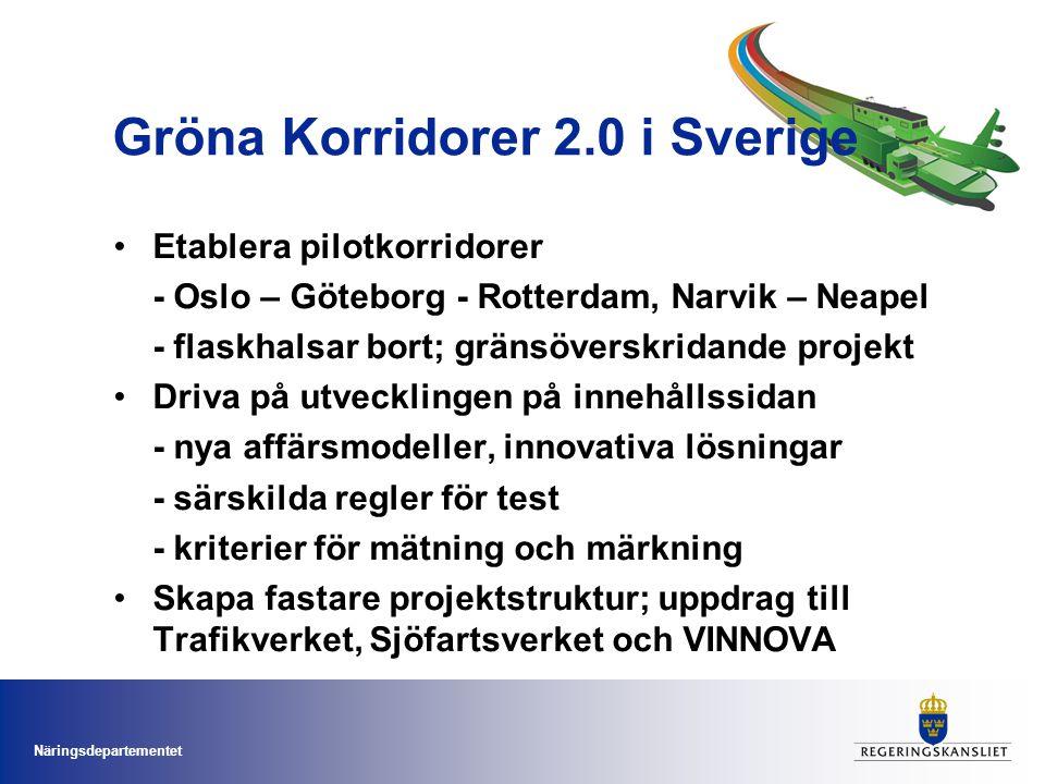Näringsdepartementet Gröna Korridorer 2.0 i Sverige Etablera pilotkorridorer - Oslo – Göteborg - Rotterdam, Narvik – Neapel - flaskhalsar bort; gränsöverskridande projekt Driva på utvecklingen på innehållssidan - nya affärsmodeller, innovativa lösningar - särskilda regler för test - kriterier för mätning och märkning Skapa fastare projektstruktur; uppdrag till Trafikverket, Sjöfartsverket och VINNOVA
