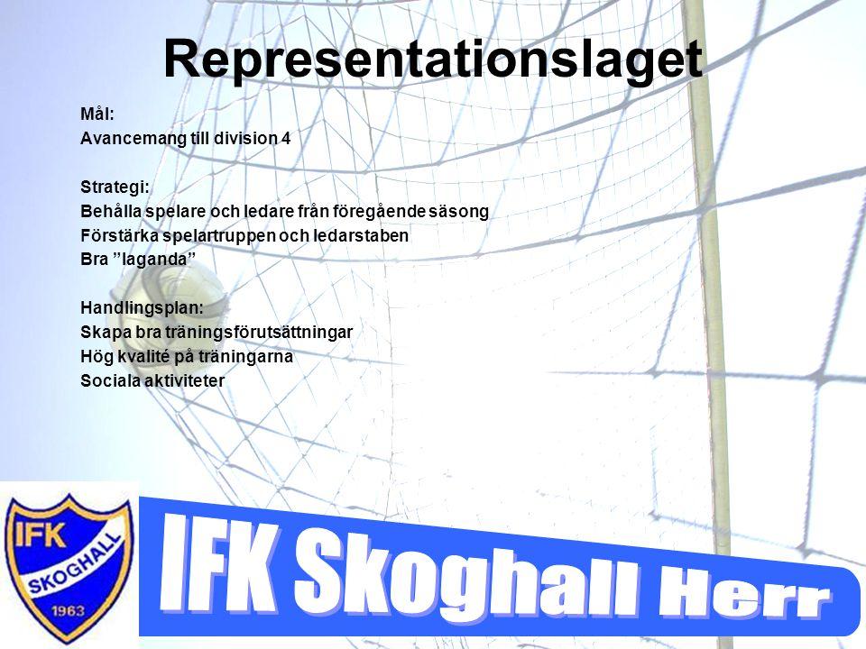Representationslaget Mål: Avancemang till division 4 Strategi: Behålla spelare och ledare från föregående säsong Förstärka spelartruppen och ledarstab