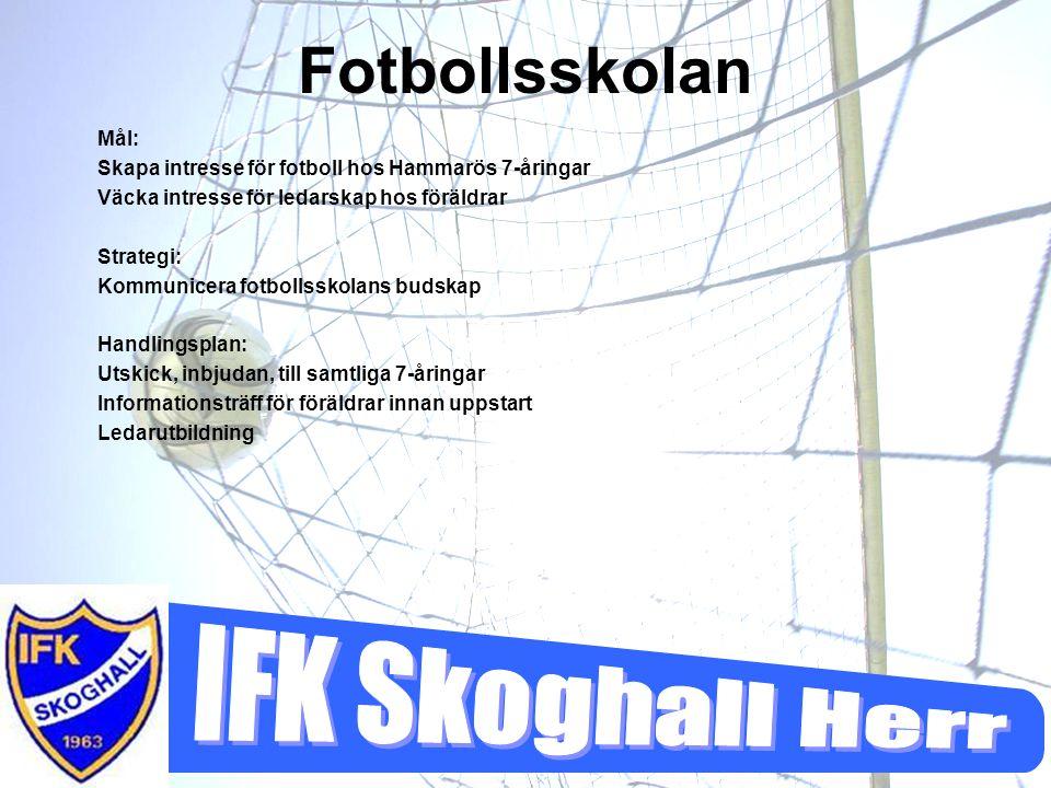 Fotbollsskolan Mål: Skapa intresse för fotboll hos Hammarös 7-åringar Väcka intresse för ledarskap hos föräldrar Strategi: Kommunicera fotbollsskolans