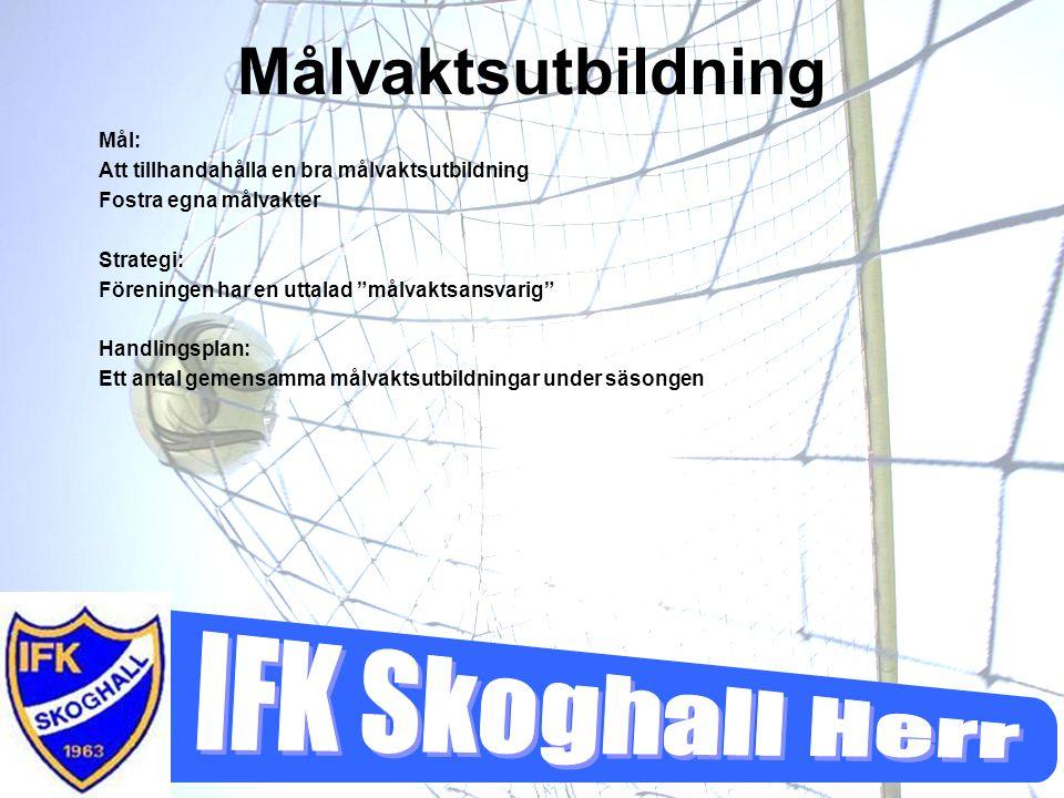"""Målvaktsutbildning Mål: Att tillhandahålla en bra målvaktsutbildning Fostra egna målvakter Strategi: Föreningen har en uttalad """"målvaktsansvarig"""" Hand"""