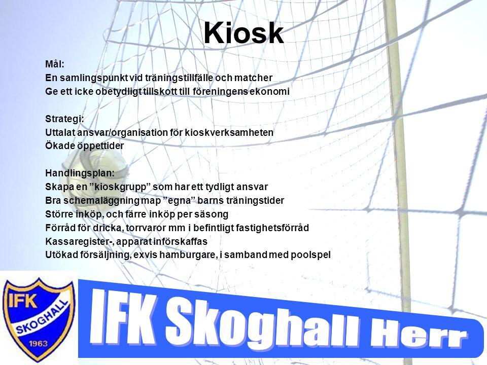 Kiosk Mål: En samlingspunkt vid träningstillfälle och matcher Ge ett icke obetydligt tillskott till föreningens ekonomi Strategi: Uttalat ansvar/organ