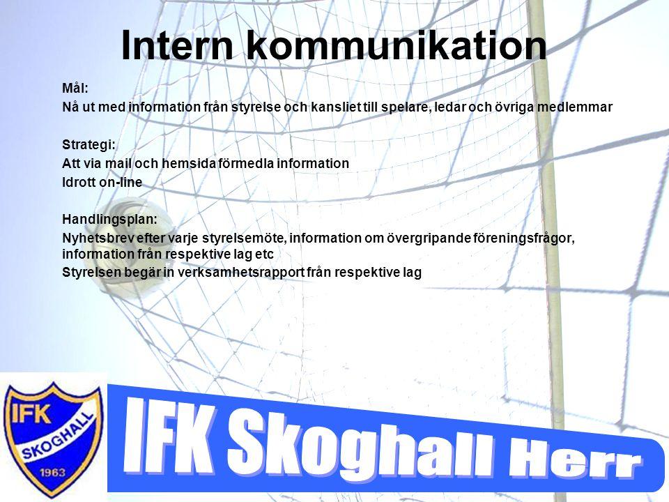 Intern kommunikation Mål: Nå ut med information från styrelse och kansliet till spelare, ledar och övriga medlemmar Strategi: Att via mail och hemsida