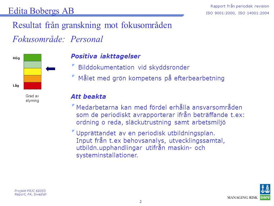 2 Resultat från granskning mot fokusområden Hög Låg Grad av styrning Edita Bobergs AB Rapport från periodisk revision ISO 9001:2000, ISO 14001:2004 Fokusområde: Personal Positiva iakttagelser Bilddokumentation vid skyddsronder Målet med grön kompetens på efterbearbetning Att beakta Medarbetarna kan med fördel erhålla ansvarsområden som de periodiskt avrapporterar ifrån beträffande t.ex: ordning o reda, släckutrustning samt arbetsmiljö Upprättandet av en periodisk utbildningsplan.
