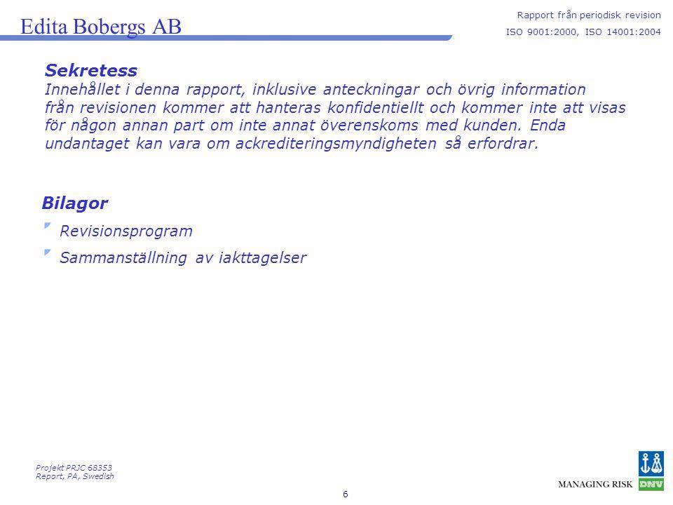 6 Edita Bobergs AB Rapport från periodisk revision ISO 9001:2000, ISO 14001:2004 Sekretess Innehållet i denna rapport, inklusive anteckningar och övri