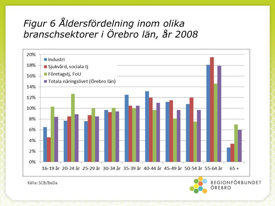 Figur 6 Åldersfördelning inom olika branschsektorer i Örebro län, år 2008 Källa: SCB/BeDa