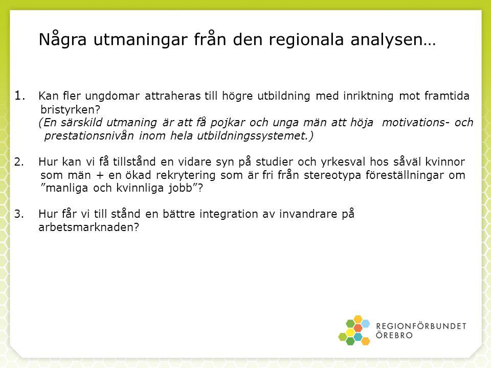 Några utmaningar från den regionala analysen… 1. Kan fler ungdomar attraheras till högre utbildning med inriktning mot framtida bristyrken? (En särski