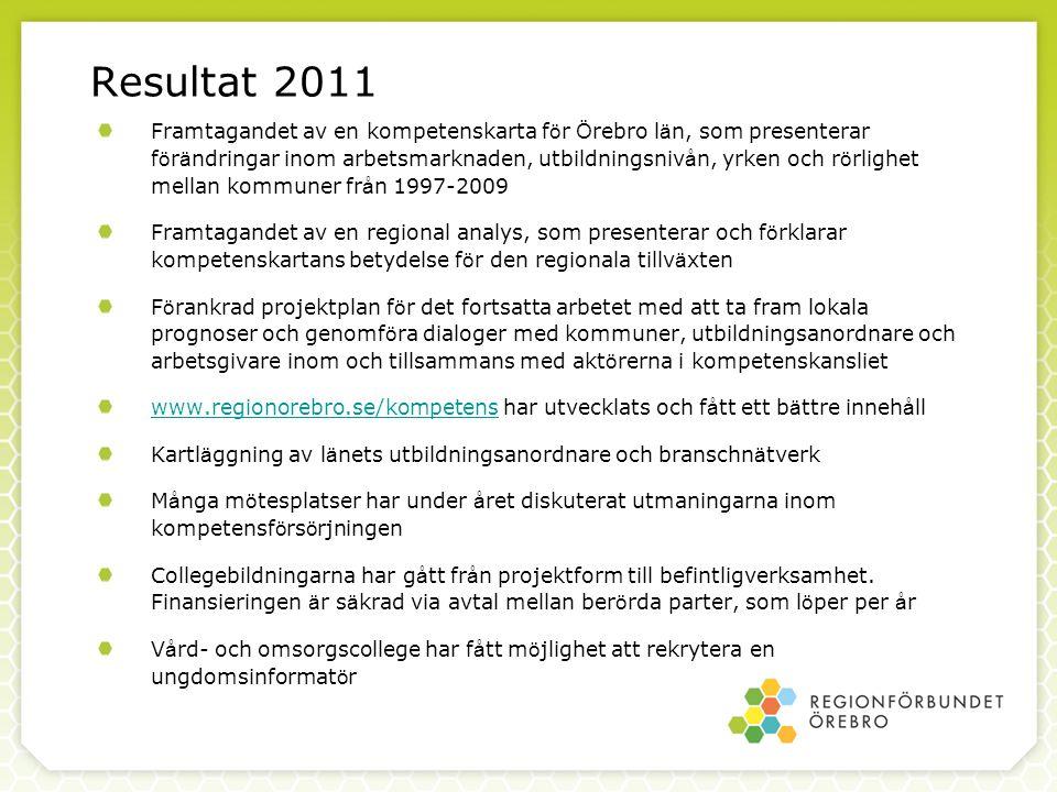 Resultat 2011 Framtagandet av en kompetenskarta f ö r Ö rebro l ä n, som presenterar f ö r ä ndringar inom arbetsmarknaden, utbildningsniv å n, yrken