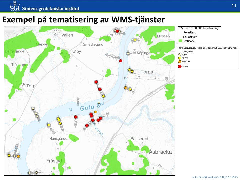 mats.oberg@swedgeo.se/SGI/2014-04-05 11 Exempel på tematisering av WMS-tjänster