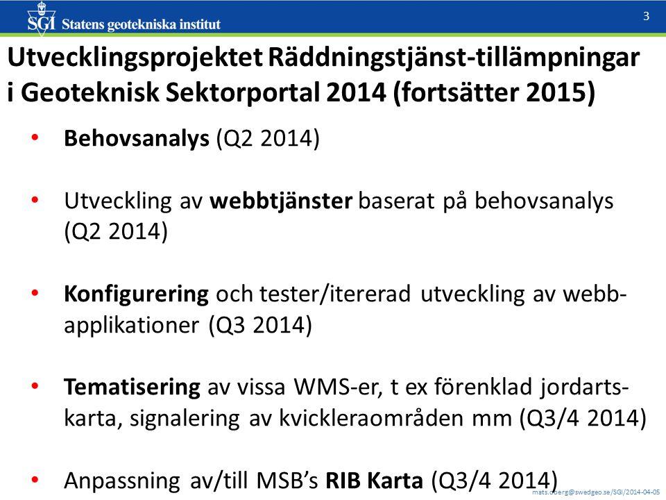 mats.oberg@swedgeo.se/SGI/2014-04-05 3 Utvecklingsprojektet Räddningstjänst-tillämpningar i Geoteknisk Sektorportal 2014 (fortsätter 2015) Behovsanaly