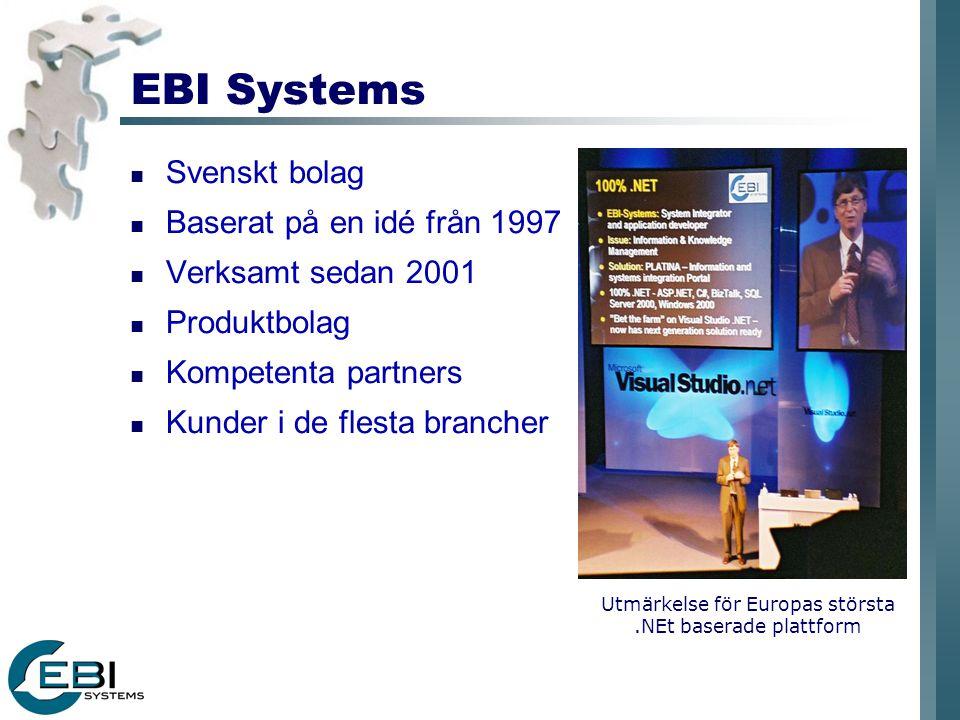 EBI Systems Svenskt bolag Baserat på en idé från 1997 Verksamt sedan 2001 Produktbolag Kompetenta partners Kunder i de flesta brancher Utmärkelse för Europas största.NEt baserade plattform