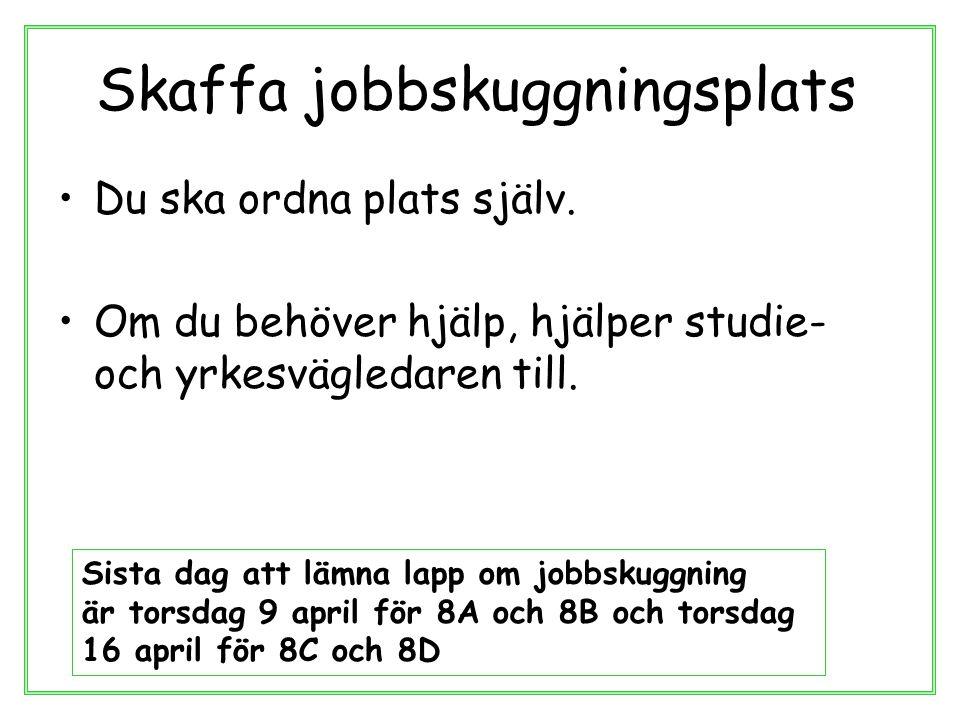 Regler för jobbskuggning Du ska inte utföra några arbetsuppgifter Inte före 06.00 och inte efter 20.00 6-8 timmar per dag.
