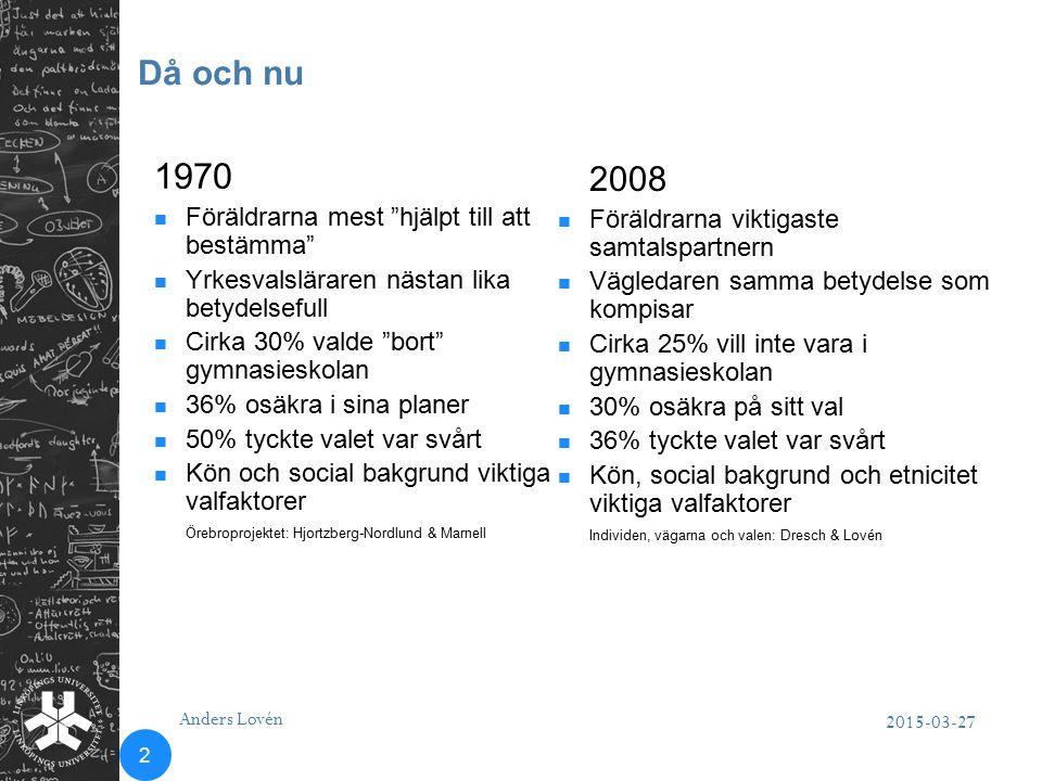 """Då och nu 2015-03-27 Anders Lovén 2 1970 Föräldrarna mest """"hjälpt till att bestämma"""" Yrkesvalsläraren nästan lika betydelsefull Cirka 30% valde """"bort"""""""
