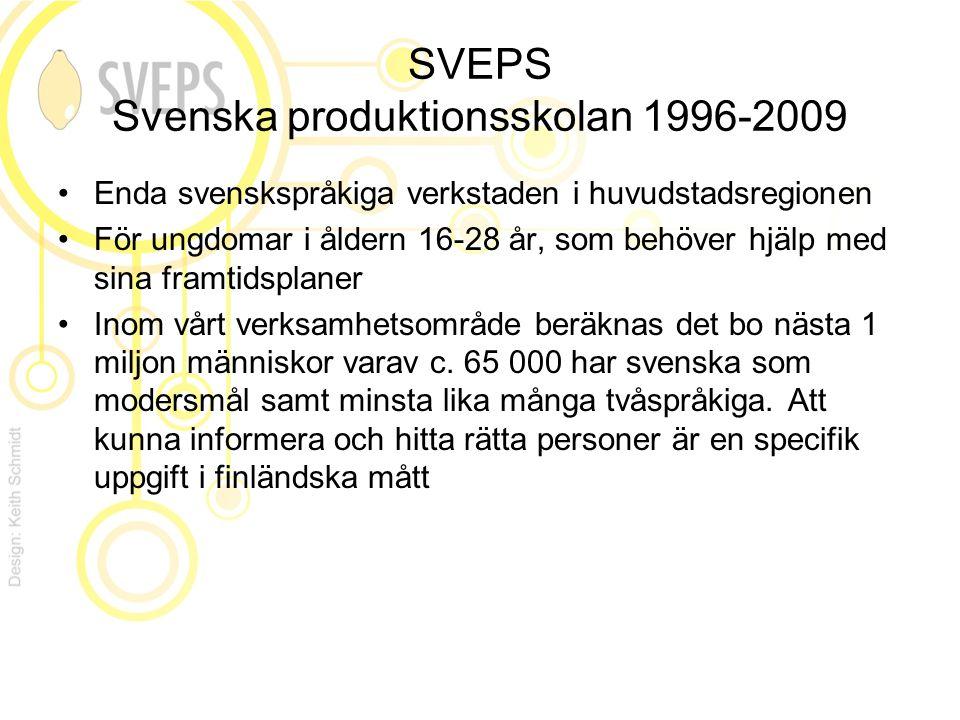 SVEPS Svenska produktionsskolan 1996-2009 Enda svenskspråkiga verkstaden i huvudstadsregionen För ungdomar i åldern 16-28 år, som behöver hjälp med sina framtidsplaner Inom vårt verksamhetsområde beräknas det bo nästa 1 miljon människor varav c.