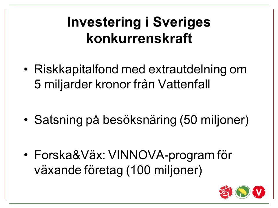 Investering i Sveriges konkurrenskraft Riskkapitalfond med extrautdelning om 5 miljarder kronor från Vattenfall Satsning på besöksnäring (50 miljoner)