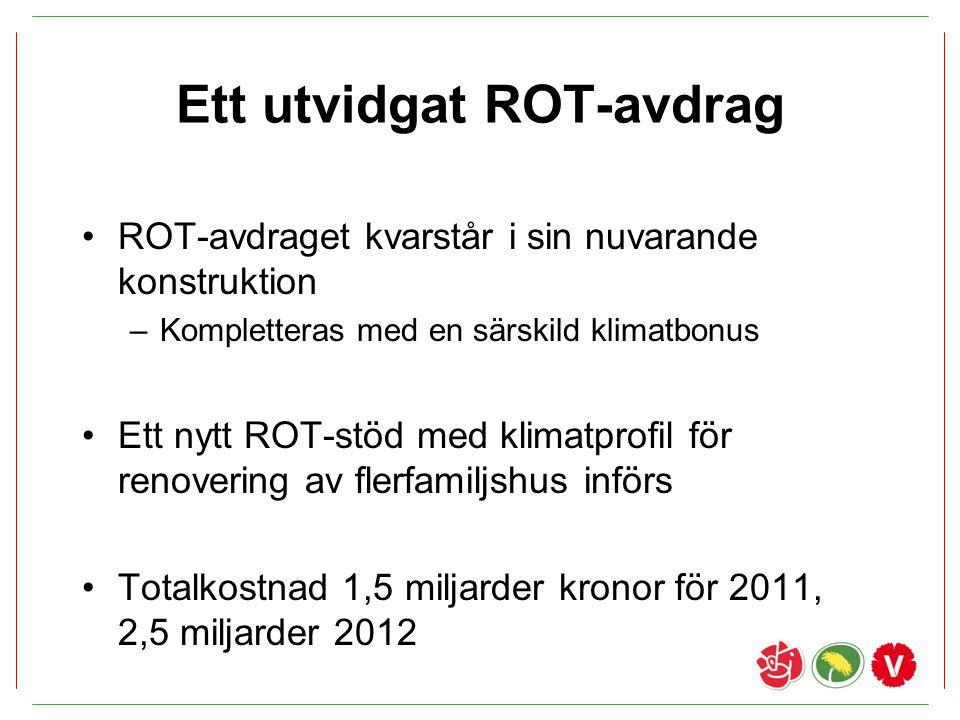 Ett utvidgat ROT-avdrag ROT-avdraget kvarstår i sin nuvarande konstruktion –Kompletteras med en särskild klimatbonus Ett nytt ROT-stöd med klimatprofi
