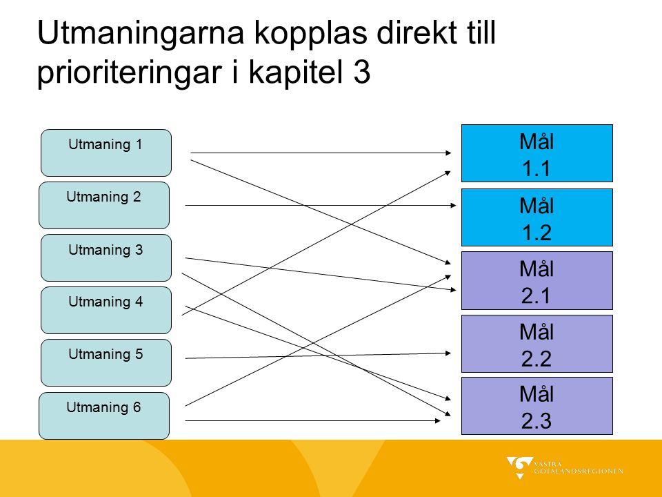 Utmaningarna kopplas direkt till prioriteringar i kapitel 3 Utmaning 1 Utmaning 2 Utmaning 3 Utmaning 4 Utmaning 5 Utmaning 6 Mål 1.1 Mål 1.2 Mål 2.1 Mål 2.2 Mål 2.3