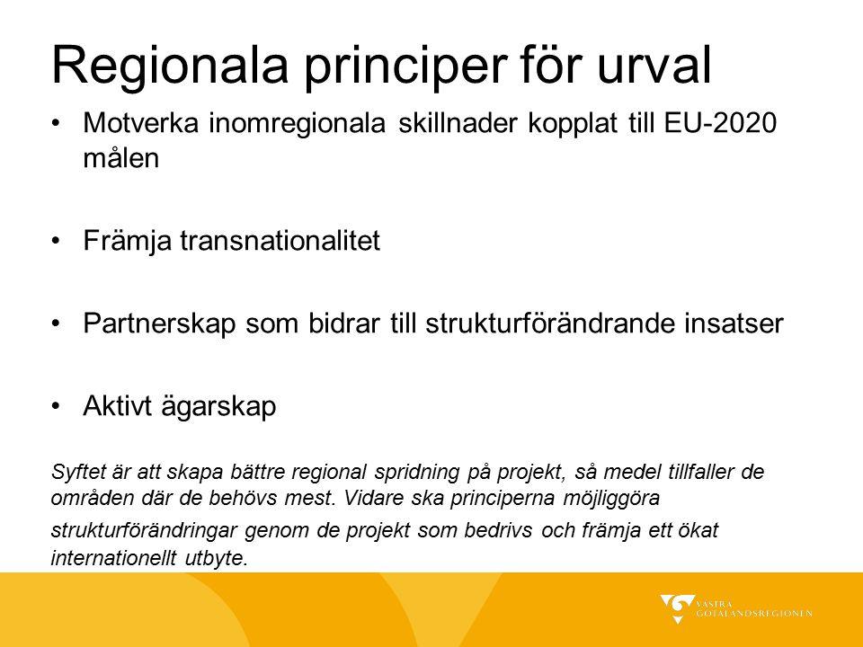 Regionala principer för urval Motverka inomregionala skillnader kopplat till EU-2020 målen Främja transnationalitet Partnerskap som bidrar till strukturförändrande insatser Aktivt ägarskap Syftet är att skapa bättre regional spridning på projekt, så medel tillfaller de områden där de behövs mest.