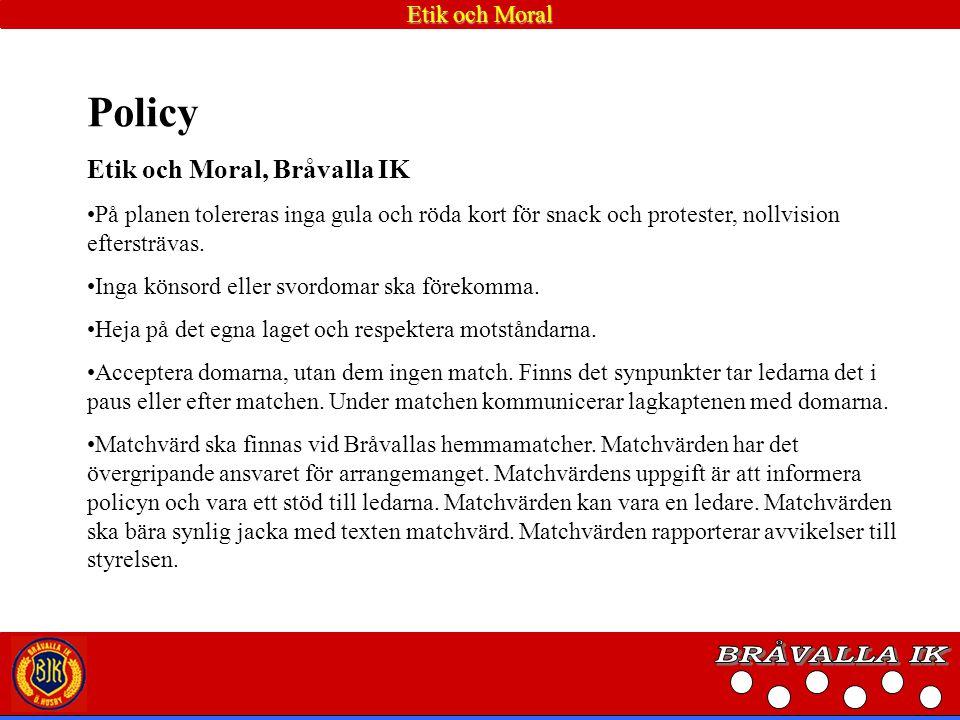 Handlingsplan: Arrangerande lag inom Bråvalla IK har en utsedd matchvärd som har ansvaret för att inte ledare, spelare, föräldrar, publik uppträder på ett osportsligt sätt.