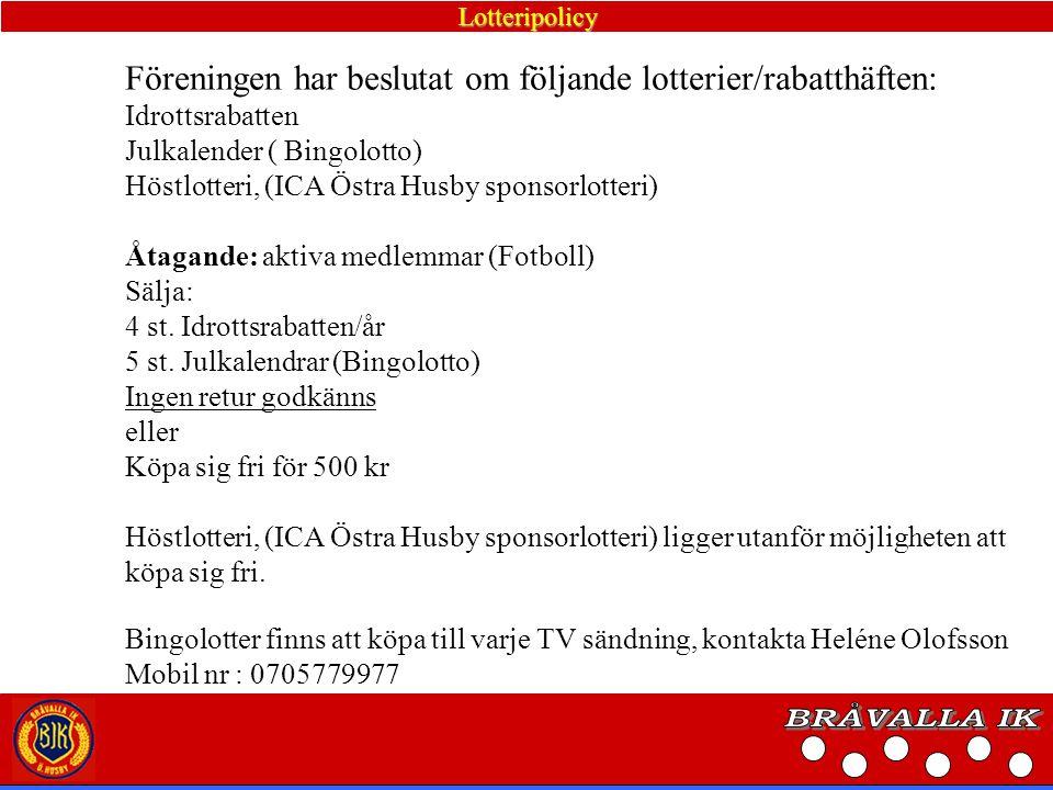 Ekonomisk fördelning olika aktiviteter inom Bråvalla IK Aktivitet UtförareFördelningKommentar ICA lotteriet Samtliga100% till BIK Julkalender Samtliga10 kr/lott sekt.