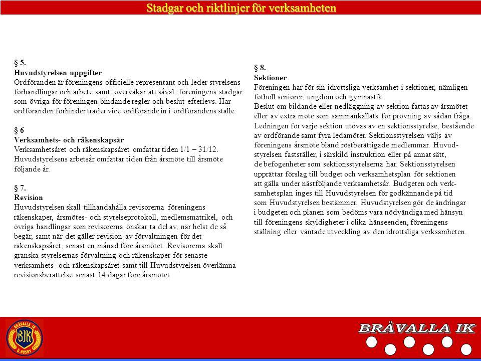 Stadgar och riktlinjer för verksamheten § 9 Möten Med föreningen hålls årsmöte före mars månads utgång.